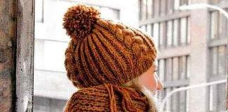 Широкий шарф и шапка спицами с узором из кос и зигзагов