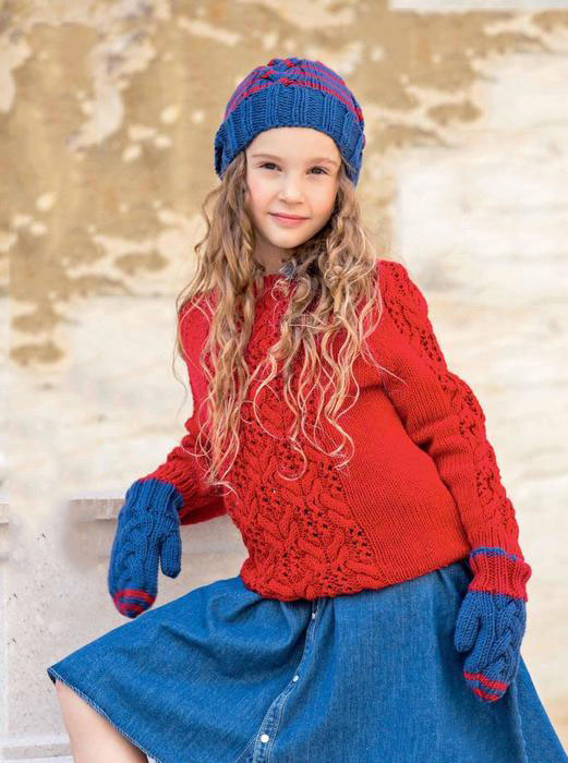 Ажурный пуловер спицами для девочки, шапка и варежки схема вязания спицами с подробным описанием