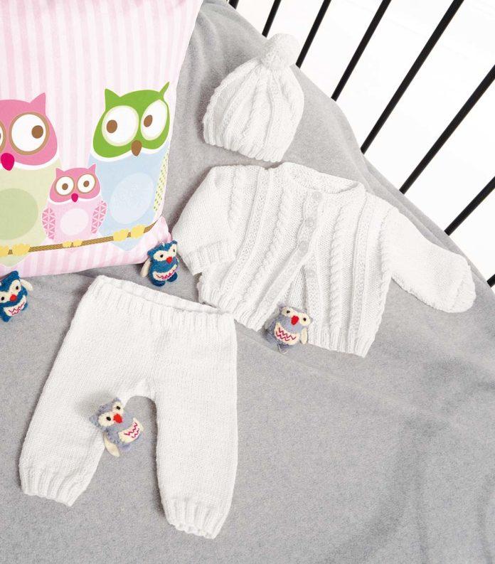 Нежный комплект для новорожденного спицами схема вязания спицами с подробным описанием