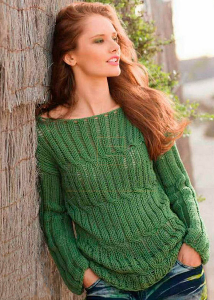 Пуловер спицами с вырезом лодочка в зеленом цвете схема вязания с подробным описанием для женщин бесплатно