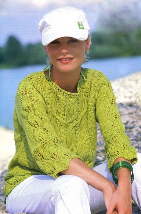 Пуловер спицами нежно-салатового цвета схема вязания спицами с подробным описанием