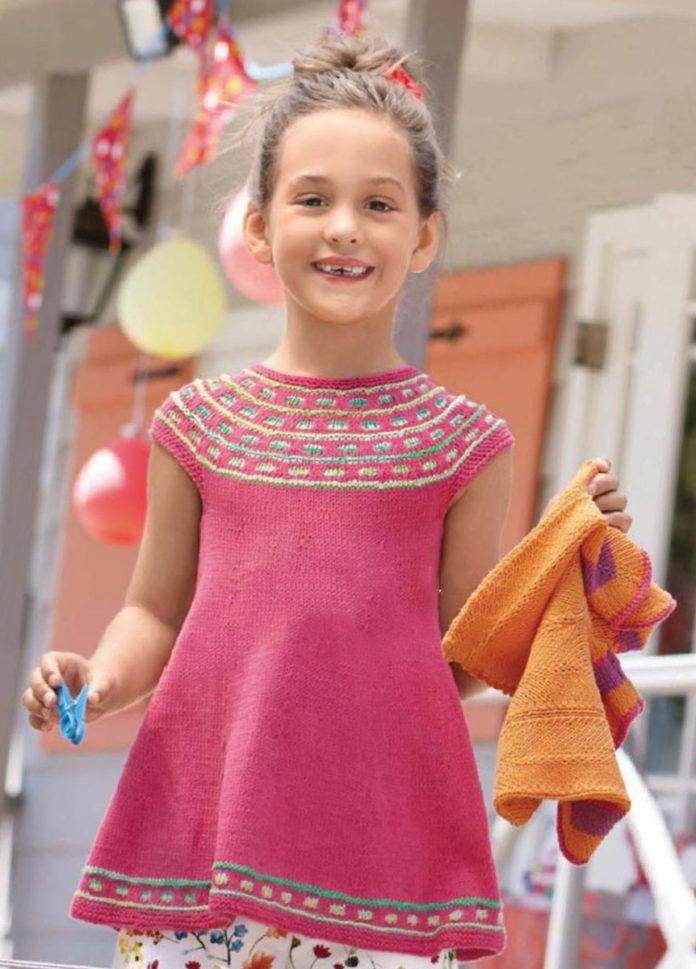 Туника для девочки на круговых спицах схема вязания с подробным описанием