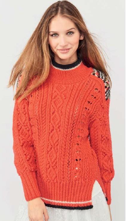 Красный пуловер спицами с жаккардовыми погонами на плечах схема вязания спицами с подробным описанием для женщин бесплатно