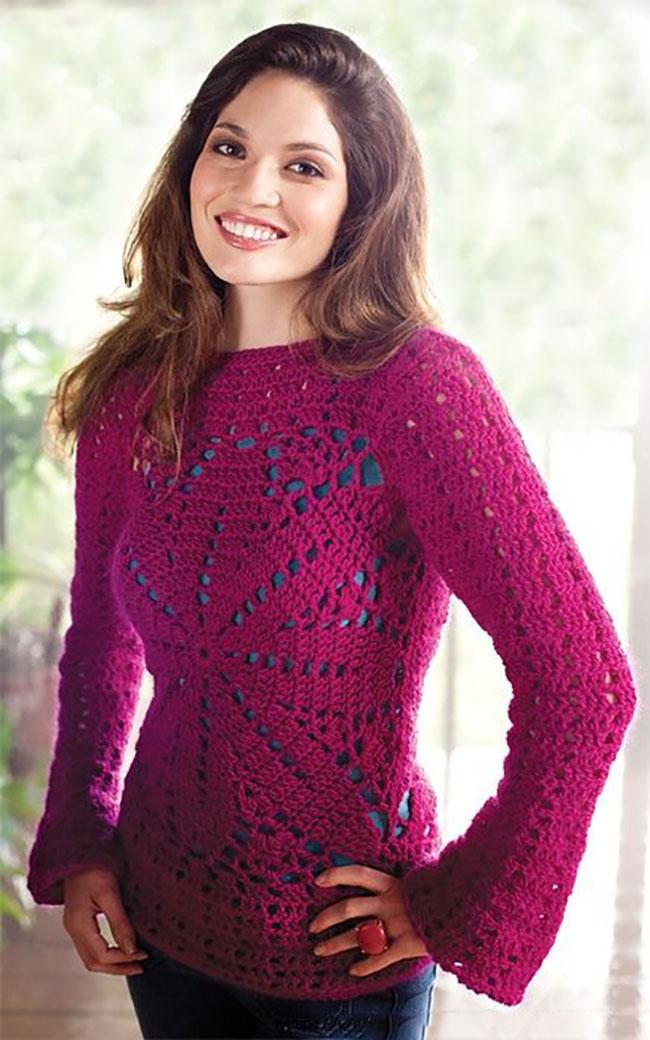 Малиновый пуловер крючком Медуза
