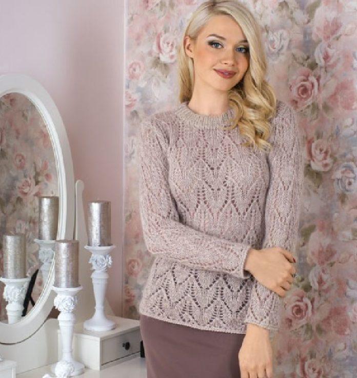 Нежный пуловер с узором из ажурных сердец схема вязания с подробным описанием