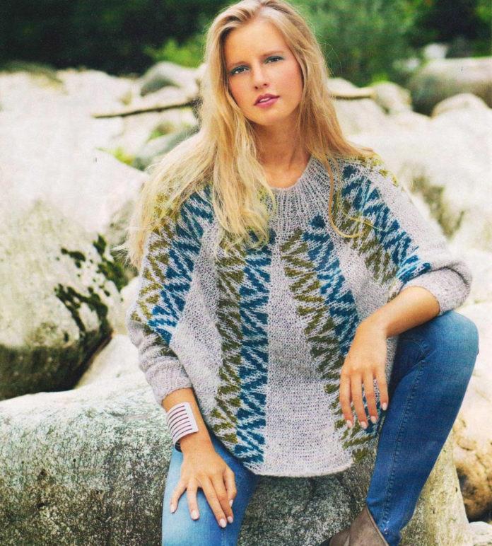Пуловер-пончо спицами с жаккардовым узором по кругу схема вязания спицами с подробным описанием