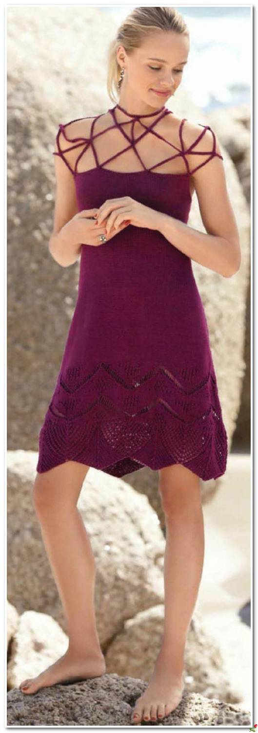 Платье спицами на сетчатой кокетке схема вязания спицами с подробным описанием