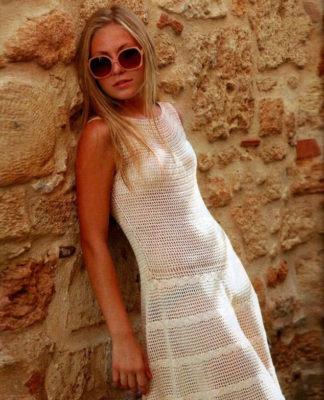 Летнее платье крючком с юбкой клеш схема вязания с подробным описанием