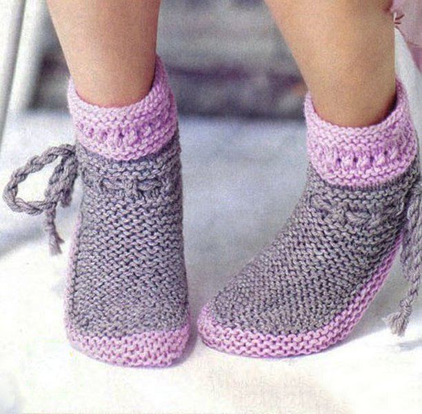 Теплые носки лицевой гладью
