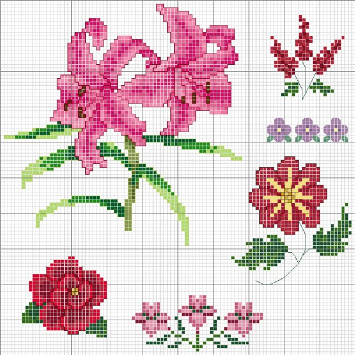 Подборка схем Вышивка крестом цветы