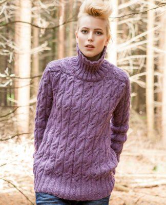 Пуловер спицами с регланом погон узором косы схема вязания с подробным описанием