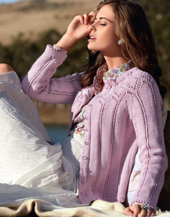 Ажурная кофточка спицами нежно-розового цвета схема вязания спицами с подробным описанием