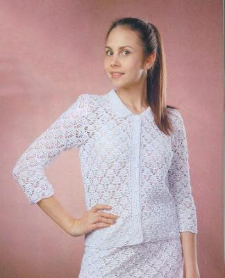 Классический костюм крючком: жакет и юбка схема вязания крючком с подробным описанием