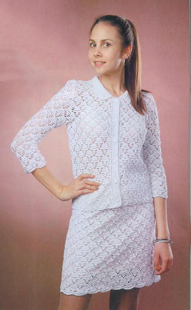 классический костюм крючком жакет и юбка портал рукоделия и моды