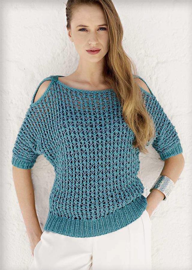 Сетчатый пуловер спицами с открытыми плечами схема вязания спицами с подробным описанием для женщин бесплатно