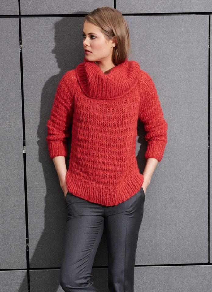 Красный свитер спицами с объемным воротником схема вязания с подробным описанием
