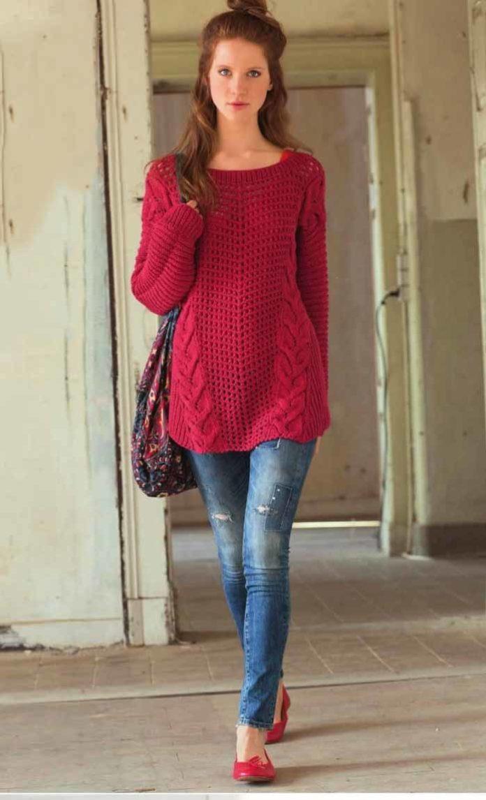 Малиновый пуловер спицами в стиле оверсайз схема вязания спицами с подробным описанием