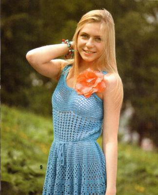 Летнее платье крючком с юбкой солнце схема вязания с подробным описанием для женщин бесплатно