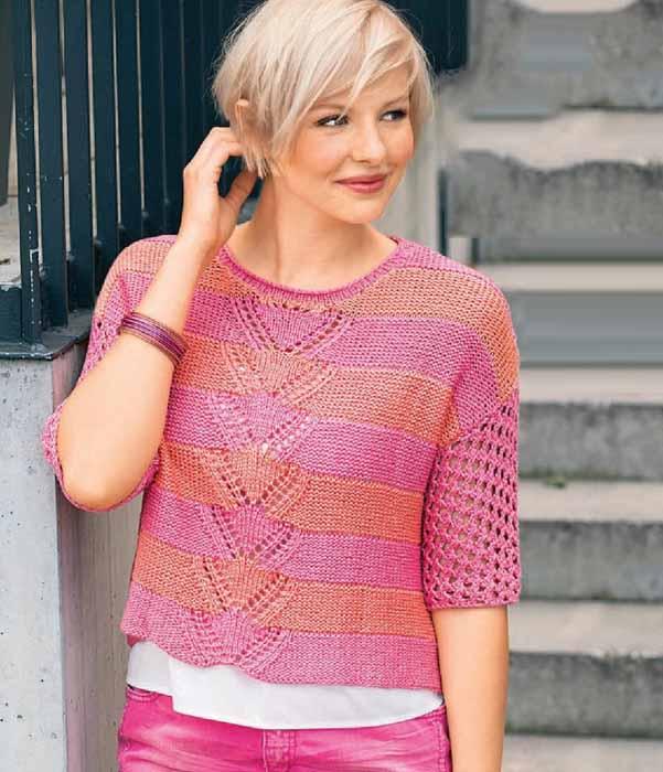 Полосатый пуловер спицами с коротким рукавом ажурным узором схема вязания спицами с подробным описанием