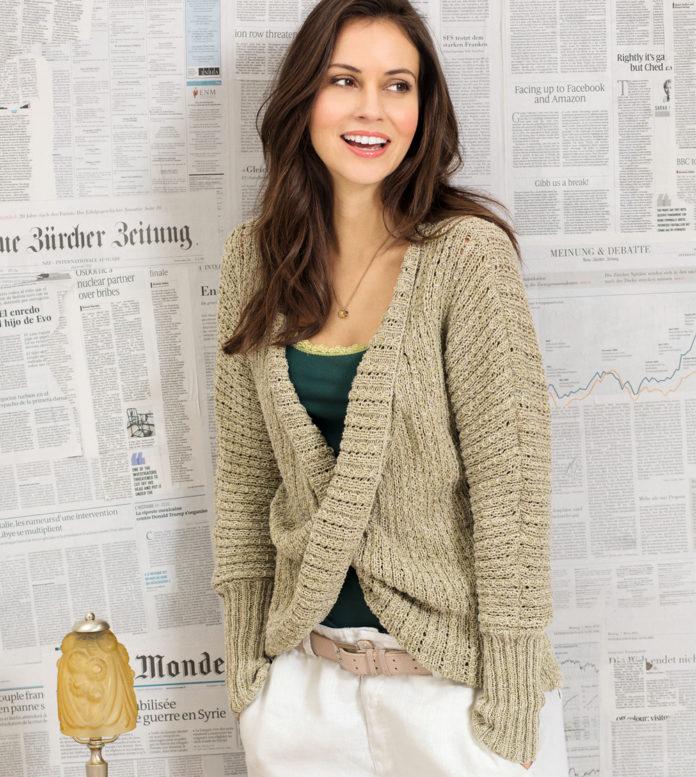 Свободная кофта спицами с перекрещенными полочками схема вязания с подробным описанием для женщин