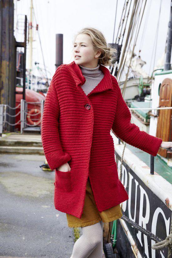 красное вязаное пальто спицами на одной пуговице портал рукоделия