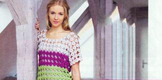 Платье чехол крючком из цветных мотивов схема вязания с подробным описанием для женщин бесплатно