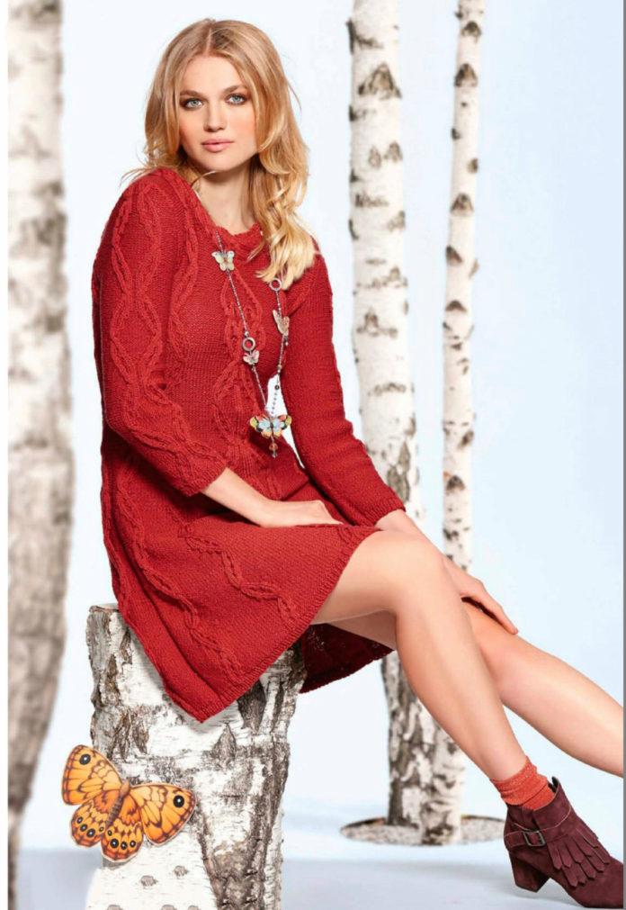 Красное платье спицами А-силуэта схема вязания спицами с подробным описанием