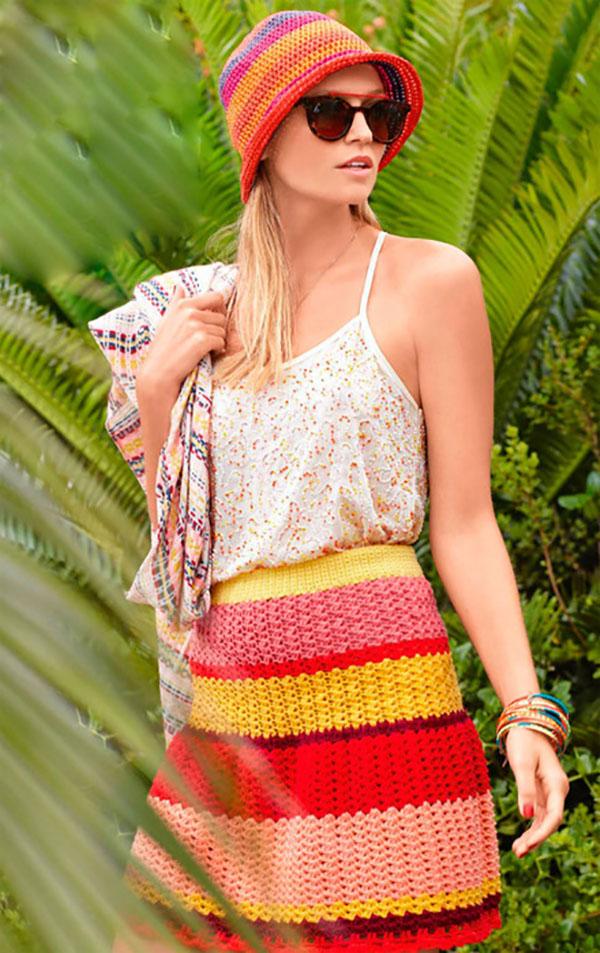 Полосатая юбка крючком на лето схема вязания с подробным описанием