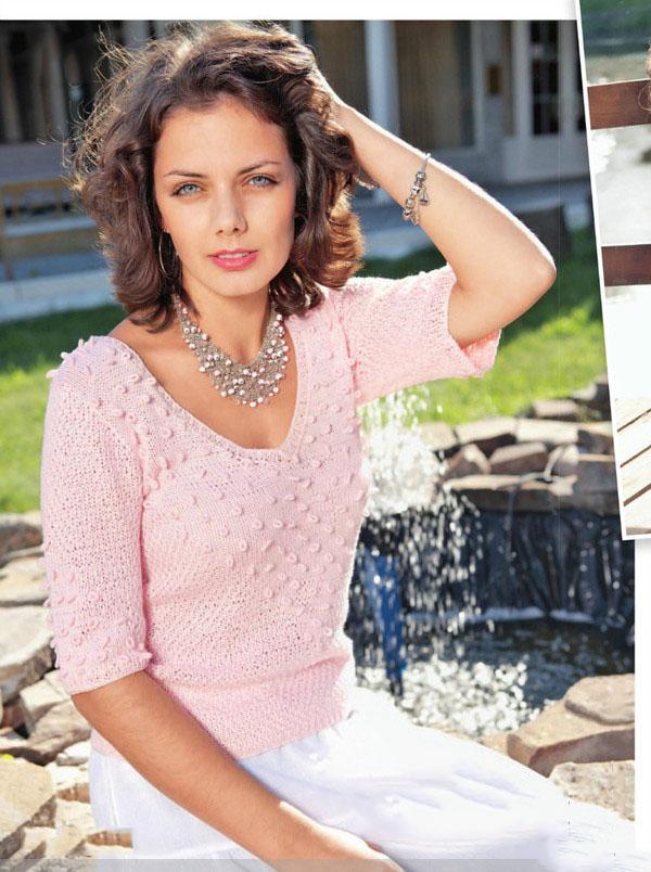 Нежно-розовая кофточка спицами с вышивкой в технике Рококо схема вязания бесплатно для женщин