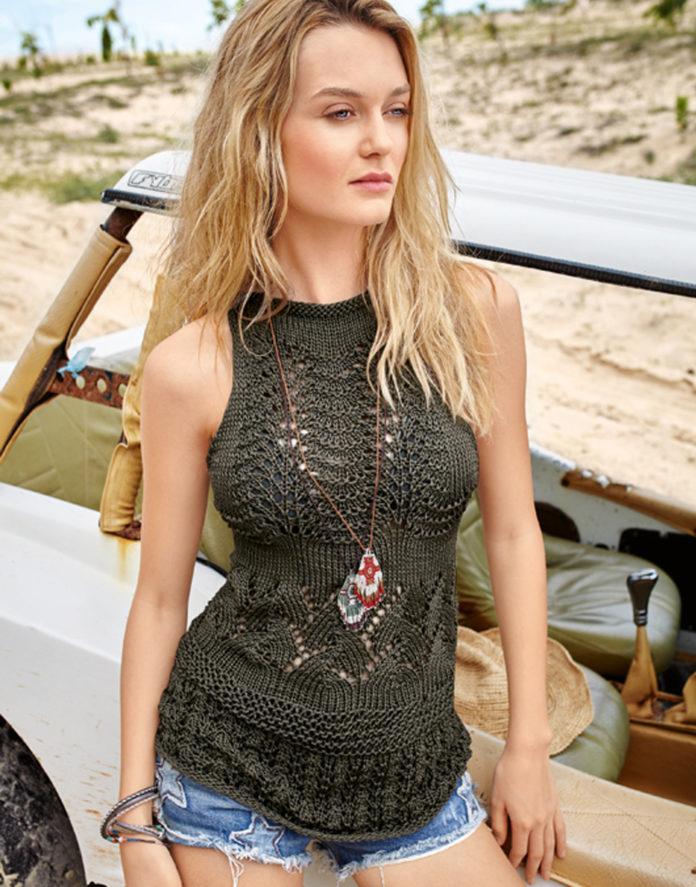 Ажурный топ спицами с американской проймой схема вязания спицами с подробным описанием для женщин