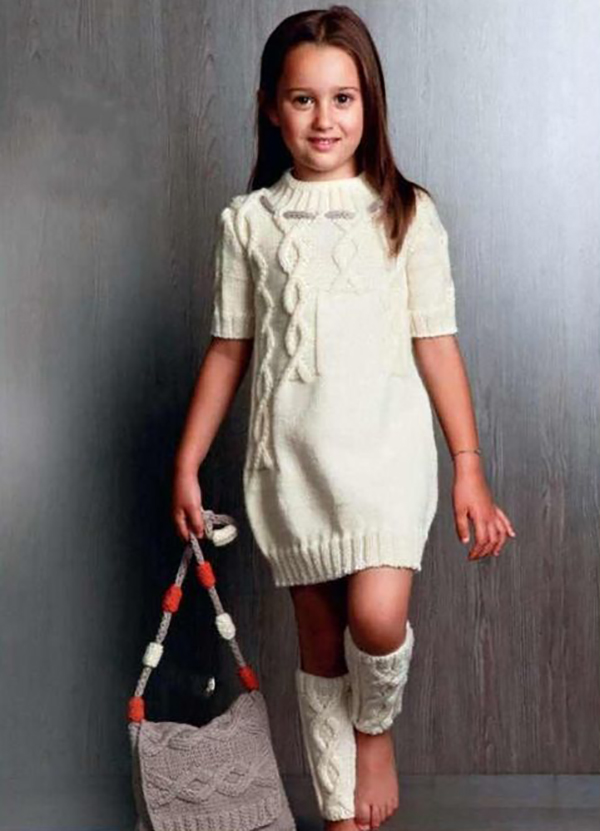 Вязаное платье спицами, гетры и сумка для девочки схема вязания спицами с подробным описанием для девочки бесплатно