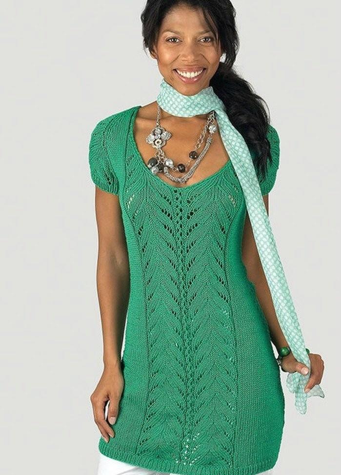 платье туника спицами с ажурным узором вдоль полочки портал