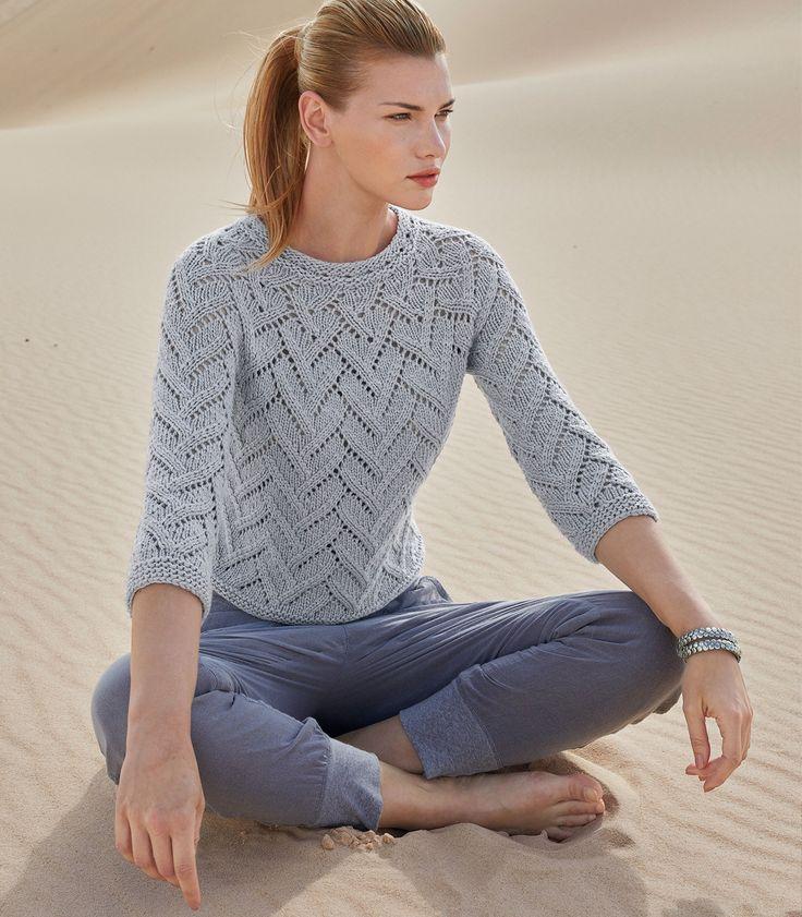ажурный пуловер спицами на круглой кокетке портал рукоделия и моды