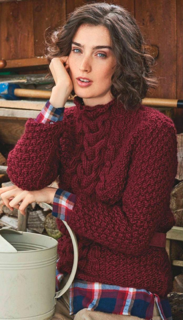 Бордовый свитер спицами с косой схема вязания с подробным описанием для женщин спицами