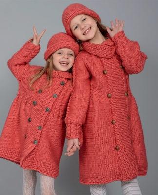Детское пальто спицами и панама крючком для девочек 6-8 лет схема вязания с подробным описанием
