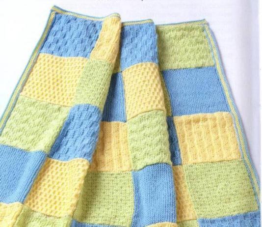 Одеяло плед спицами из рельефных квадратов схема вязания спицами