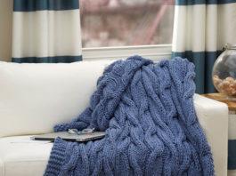 """Плед спицами с косами """"Волны моря"""" схема вязания спицами с подробным описанием"""