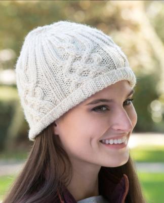 Вязание женских шапок с отворотом спицами 723