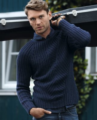 Мужской пуловер спицами резинкой 2х2 схема вязания