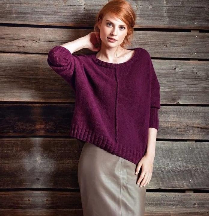 Стильный свитер со швами наружу - модель оверсайз схема вязания с описанием