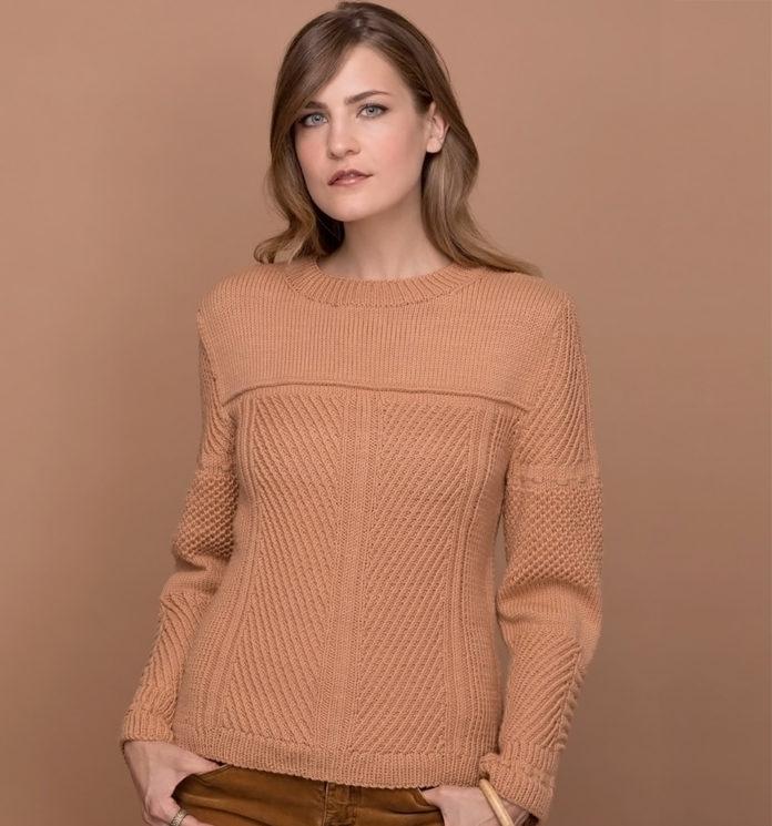 Пуловер спицами с сочетанием структурных узоров схема вязания с подробным описанием