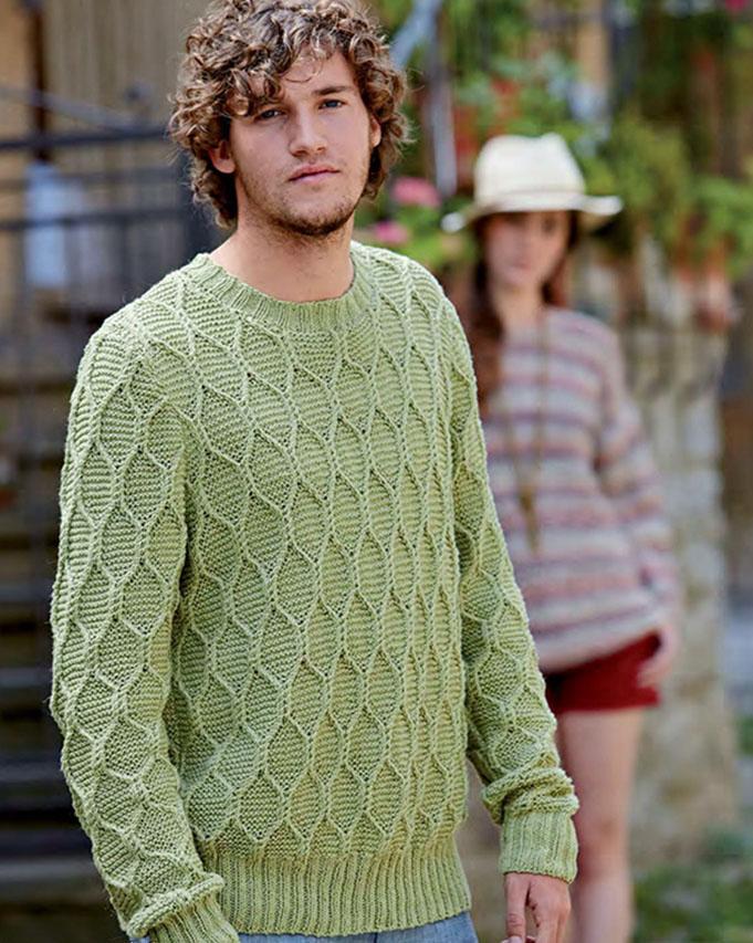 мужской свитер спицами с узором соты портал рукоделия и моды