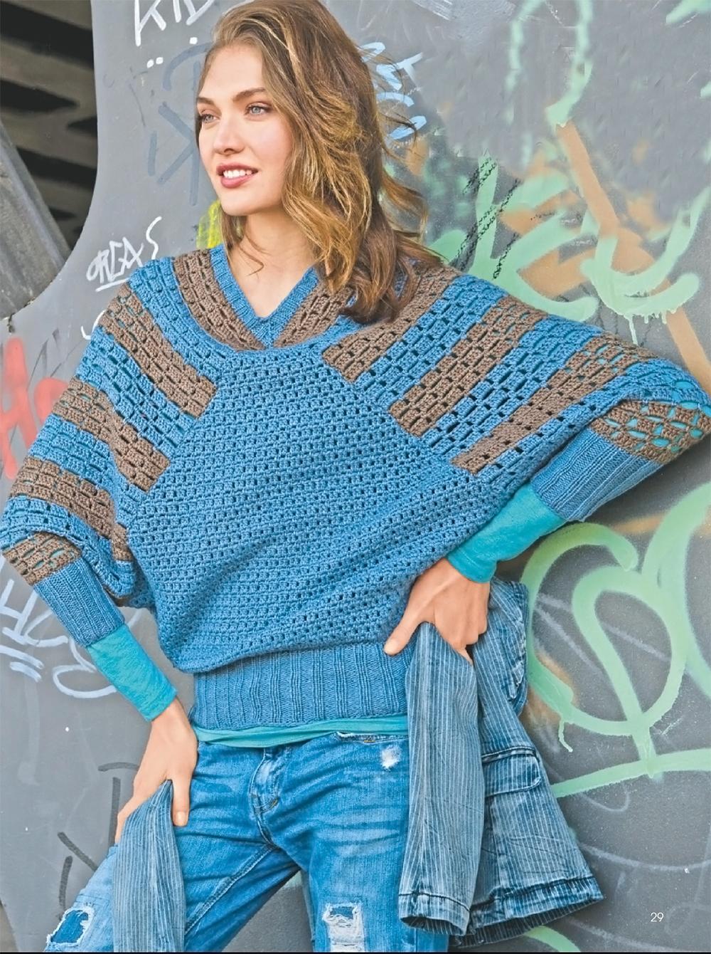 Пуловер с рукавами летучая мышь вязаный крючком - Портал ...
