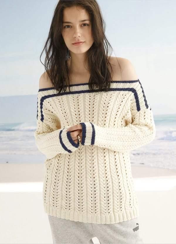 Пуловер спицами с открытыми плечами с ажурным узором из кос схема вязания с подробным описанием для женщин бесплатно