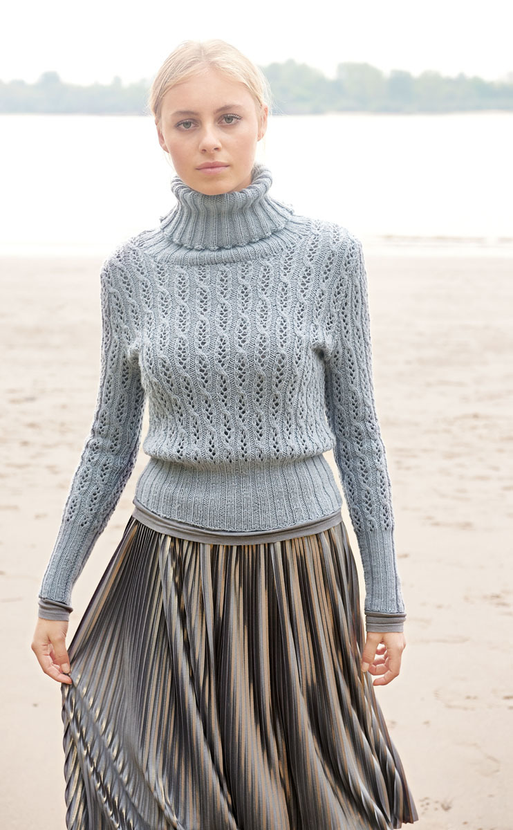 женский свитер спицами с высоким воротником гольф портал рукоделия