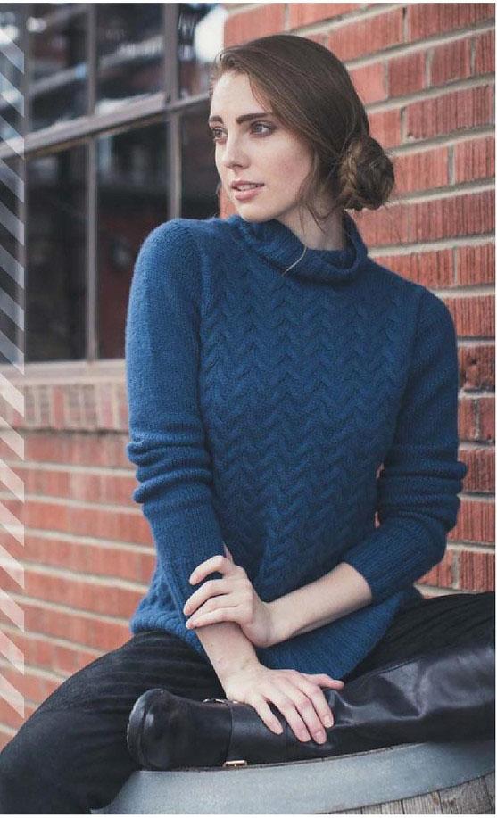 Синий свитер спицами с узором из кос схема вязания с подробным описанием