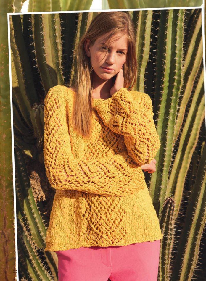 Удлиненный пуловер с ажурным узором схема вязания с подробным описанием для женщин