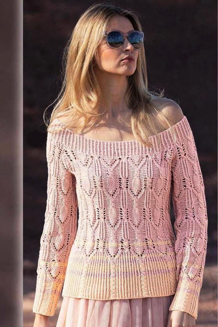 Пуловер с баской и с открытыми плечами спицами схема вязания с подробным описанием для женщин