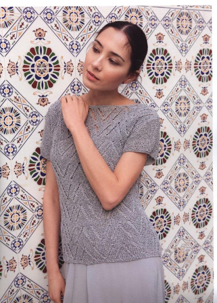 Женская блузка спицами с узором Зиг-Заг схема вязания с подробным описанием