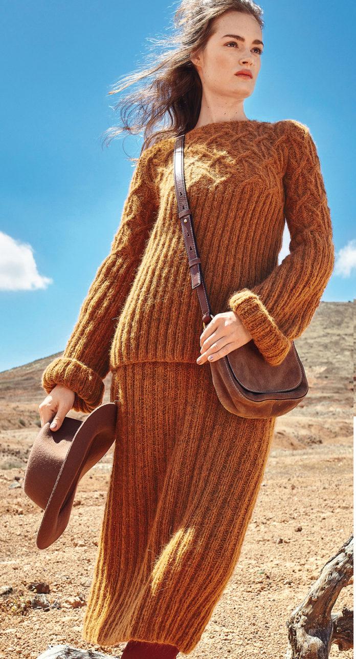 Вязаный костюм спицами: Джемпер и юбка резинкой с узором из жгутов
